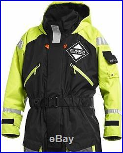 Fladen Flotation Suit XXL Rescue System Black/Yellow 1-Piece Fishing Sailing