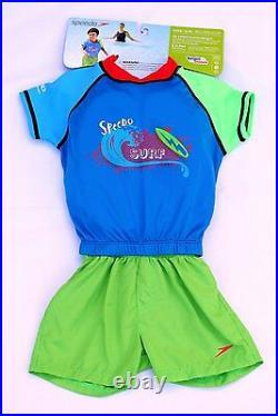 NWT Speedo UV 2pc UPF 50+ Polywog Floatation Suit Kids boys size M/L blue/green