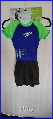New Speedo Kids UV 50+ Floatation Suit With Shorts Boy's M/L Age 2-4 33-45 Lbs