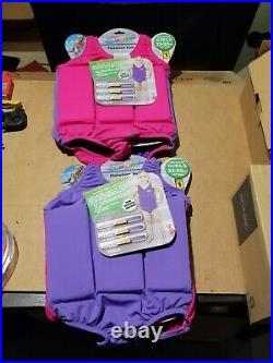 TWO NEW GIRLS FLOTATION SUIT 33-55 lbs SWIM SCHOOL UNSINKABLE Pink & Purple